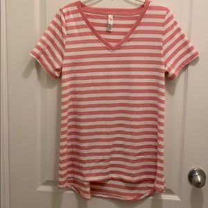 Pink and White Striped Christy T NWOT